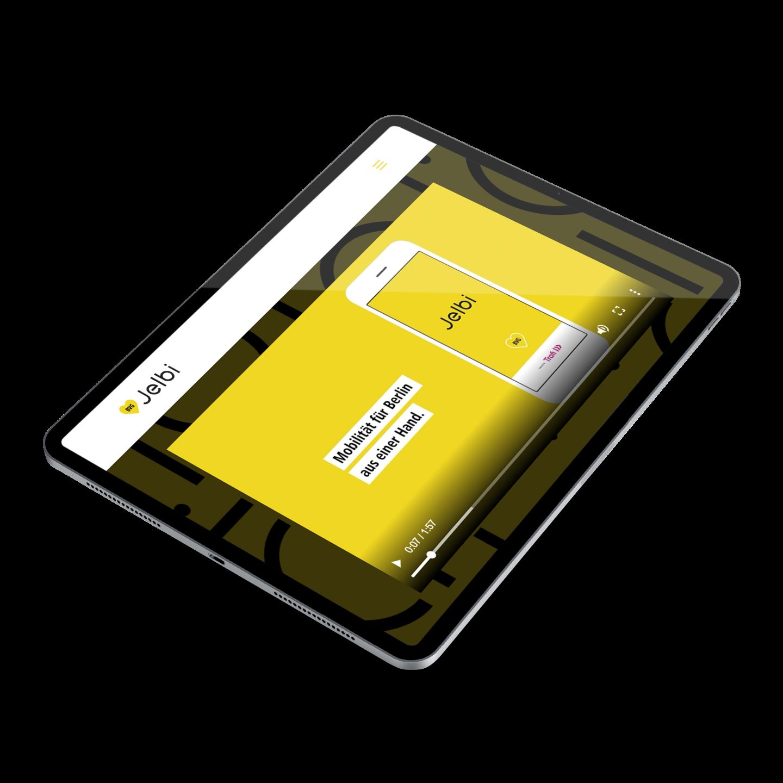 Ein iPad, auf dem man die Webseite von Jelbi sehen kann.