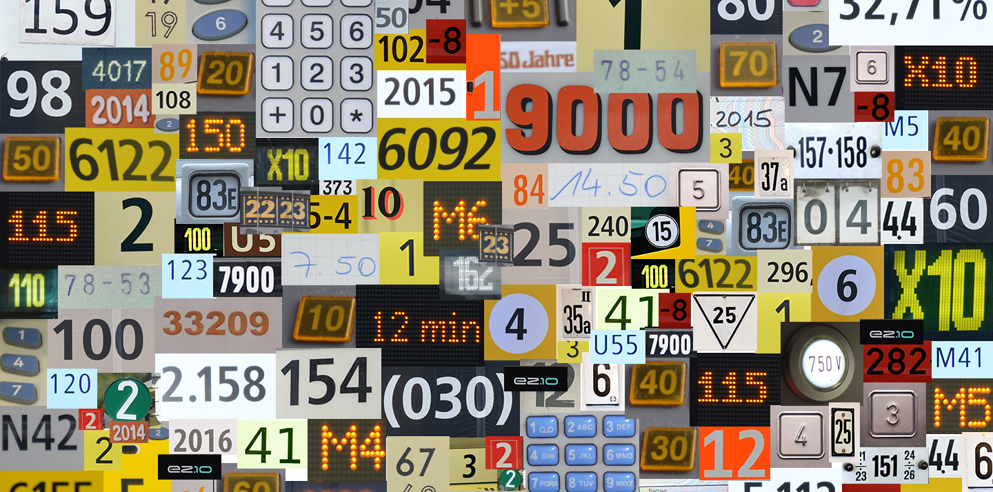 Very many different numbers in one collage