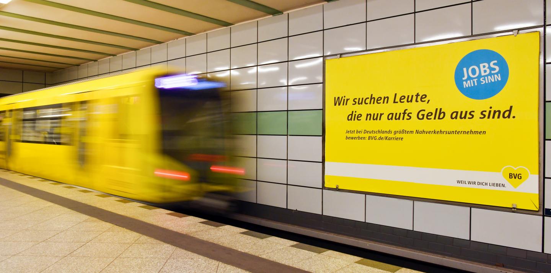Ein Plakat der BVG mit dem Slogan