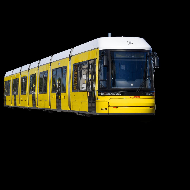 Ein Straßenbahn von der Seite