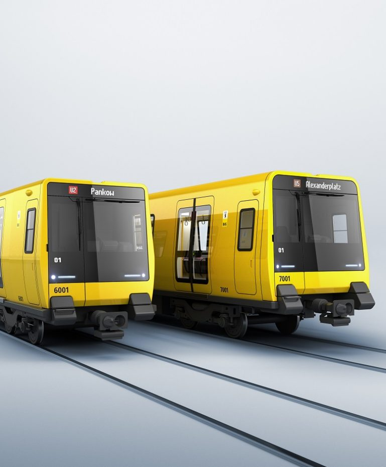 An artist's impression shows the BVG's new underground fleet: the narrow gauge class JK on the left, the wide gauge class J on the right.