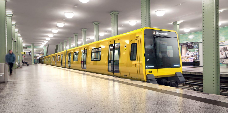 Eine Simulation zeigt den künftigen Großprofil-Zug der Baureihe J am U-Bahnhof Alexanderplatz