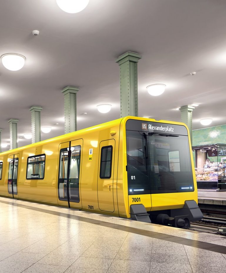 The artist's impressions shows the future class J wide gauge train at Alexanderplatz station