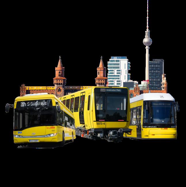 U-Bahn, Straßenbahn und Bus vor der Skyline Berlins